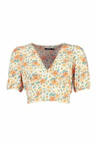 Womens Woven Floral Puff Sleeve Crop Top - orange - 16, Orange