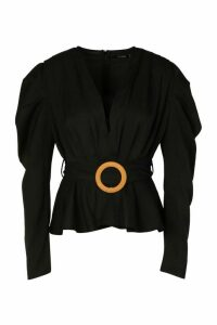 Womens Woven Pleated Belted Puff Sleeve Blouse - black - 14, Black