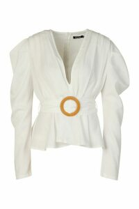 Womens Woven Pleated Belted Puff Sleeve Blouse - White - 12, White