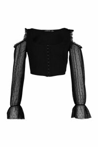 Womens Dobby Mesh Corset Style Cold Shoulder Top - Black - 14, Black