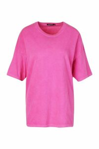 Womens Neon Washed Oversized T-Shirt - Pink - L, Pink