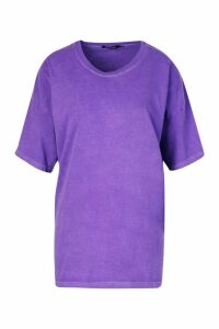 Womens Neon Washed Oversized T-Shirt - purple - L, Purple