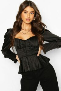 Womens Satin Shirred Blouse - black - 6, Black