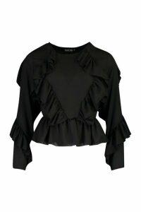 Womens Woven Ruffle Blouse - Black - 12, Black