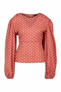 Womens Woven Polka Dot Volume Sleeve Top - Pink - 16, Pink