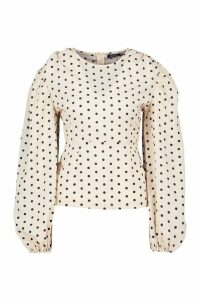 Womens Woven Polka Dot Volume Sleeve Top - beige - 14, Beige