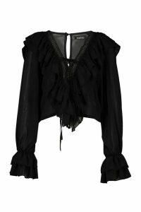Womens Woven Ruffle Detail Lace Trim Blouse - black - 14, Black