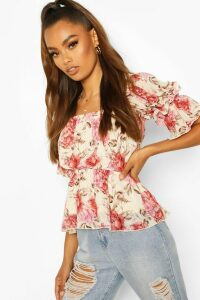 Womens Woven Floral Open Back Peplum Top - Pink - 12, Pink