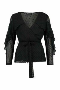 Womens Dobby Chiffon Ruffle Blouse - Black - 16, Black