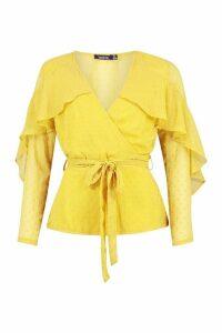 Womens Dobby Chiffon Ruffle Blouse - Yellow - 14, Yellow