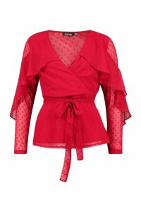 Womens Dobby Chiffon Ruffle Blouse - Red - 8, Red