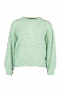Womens Oversized Balloon Sleeve Popcorn Textured Jumper - Green - M, Green
