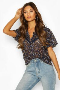 Womens Floral Lace Trim Blouse - navy - 12, Navy