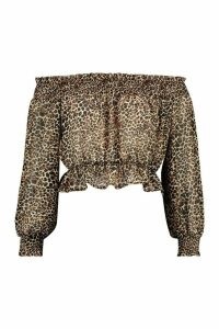 Womens Woven Shirred Leopard Off The Shoulder Top - brown - 12, Brown