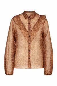 Womens Leopard Print Frill Organza Mesh Shirt - brown - 14, Brown