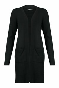 Womens Open Front Midi Cardigan - Black - L, Black
