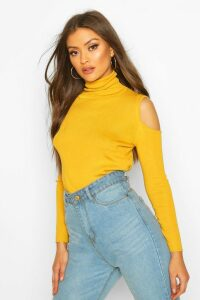 Womens Cold Shoulder Polo Neck Knitted Top - Yellow - M, Yellow
