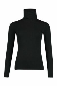 Womens Long Sleeved Roll Neck Top - black - 8, Black