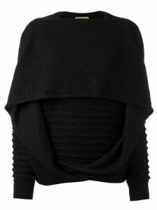 Issey Miyake Pre-Owned knitted draped sweater - Black