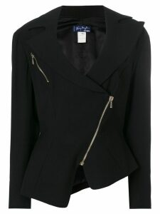 Thierry Mugler Pre-Owned wide lapels biker jacket - Black