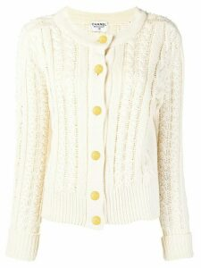 Chanel Pre-Owned cable knit buttoned cardigan - NEUTRALS