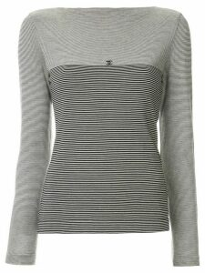 Chanel Pre-Owned CC border striped top - Black