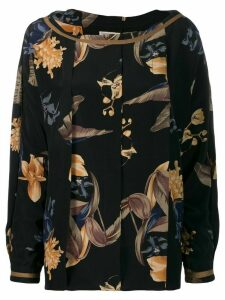 Versace Pre-Owned 1980's box pleat floral blouse - Black