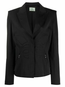 Thierry Mugler Pre-Owned padded details slim-fit jacket - Black