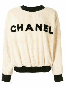 Chanel Pre-Owned textured logo jumper - White