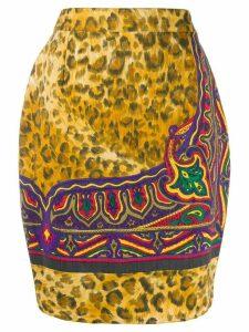Versace Pre-Owned 1990s animal print slim-fit skirt - NEUTRALS