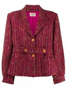 Hermès 1980s pre-owned tweed double-belt jacket - PURPLE