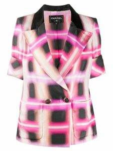 Chanel Pre-Owned 2017 silk checked short-sleeved jacket - PINK
