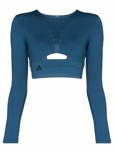adidas X Stella McCartney cutout logo-print cropped top - Blue