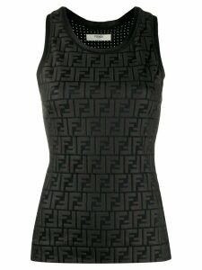 Fendi logo print stretch-jersey tank - Black