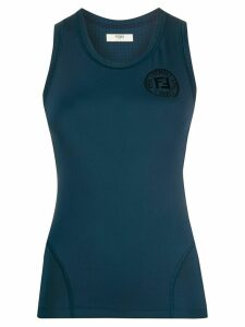Fendi logo print tank top - Blue
