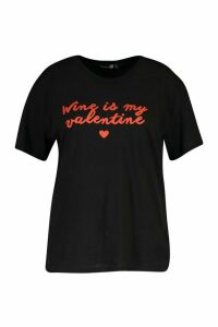 Womens Plus Wine Valentine Slogan T-Shirt - black - 20, Black