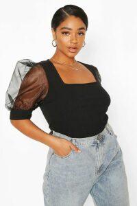 Womens Plus Soft Rib Organza Mesh Puff Sleeve Top - Black - 26, Black