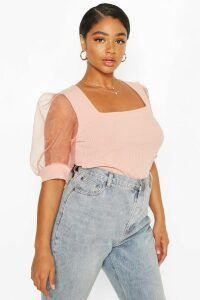 Womens Plus Soft Rib Organza Mesh Puff Sleeve Top - Pink - 28, Pink