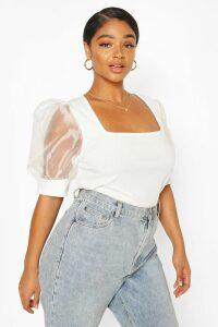Womens Plus Soft Rib Organza Mesh Puff Sleeve Top - White - 22, White