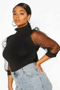 Womens Plus Dobby Organza Sleeve Rib Top - Black - 20, Black