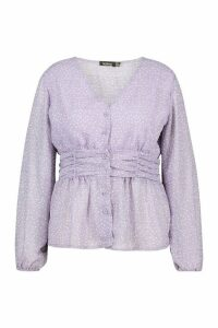 Womens Plus Polka Check Sheer Peplum Blouse - purple - 18, Purple
