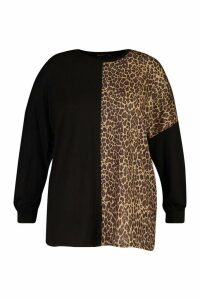 Womens Plus Leopard Panel Longsleeve T-Shirt - Black - 20, Black