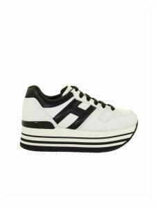 Hogan Maxi H222 Black, White Leather Sneakers