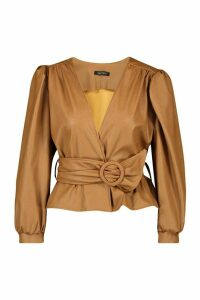 Womens Petite Belted Peplum Leather Look Top - brown - 12, Brown