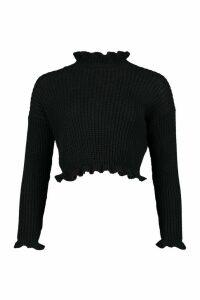 Womens Petite Frill Hem & Cuff Cropped Jumper - black - L, Black