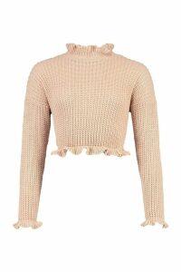 Womens Petite Frill Hem & Cuff Cropped Jumper - pink - L, Pink