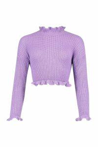 Womens Petite Frill Hem & Cuff Cropped Jumper - purple - XS, Purple