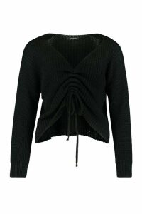 Womens Petite Ruched Front Jumper - black - M, Black