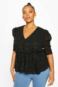 Womens Plus Floral Lace Angel Sleeve Peplum Top - Black - 20, Black