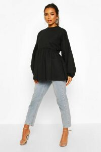 Womens Petite Puff Sleeve Smock Sweat Top - Black - 14, Black